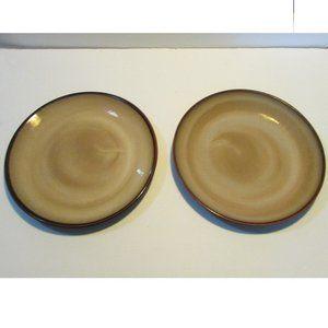 set of 2 sango nova brown dinner plate